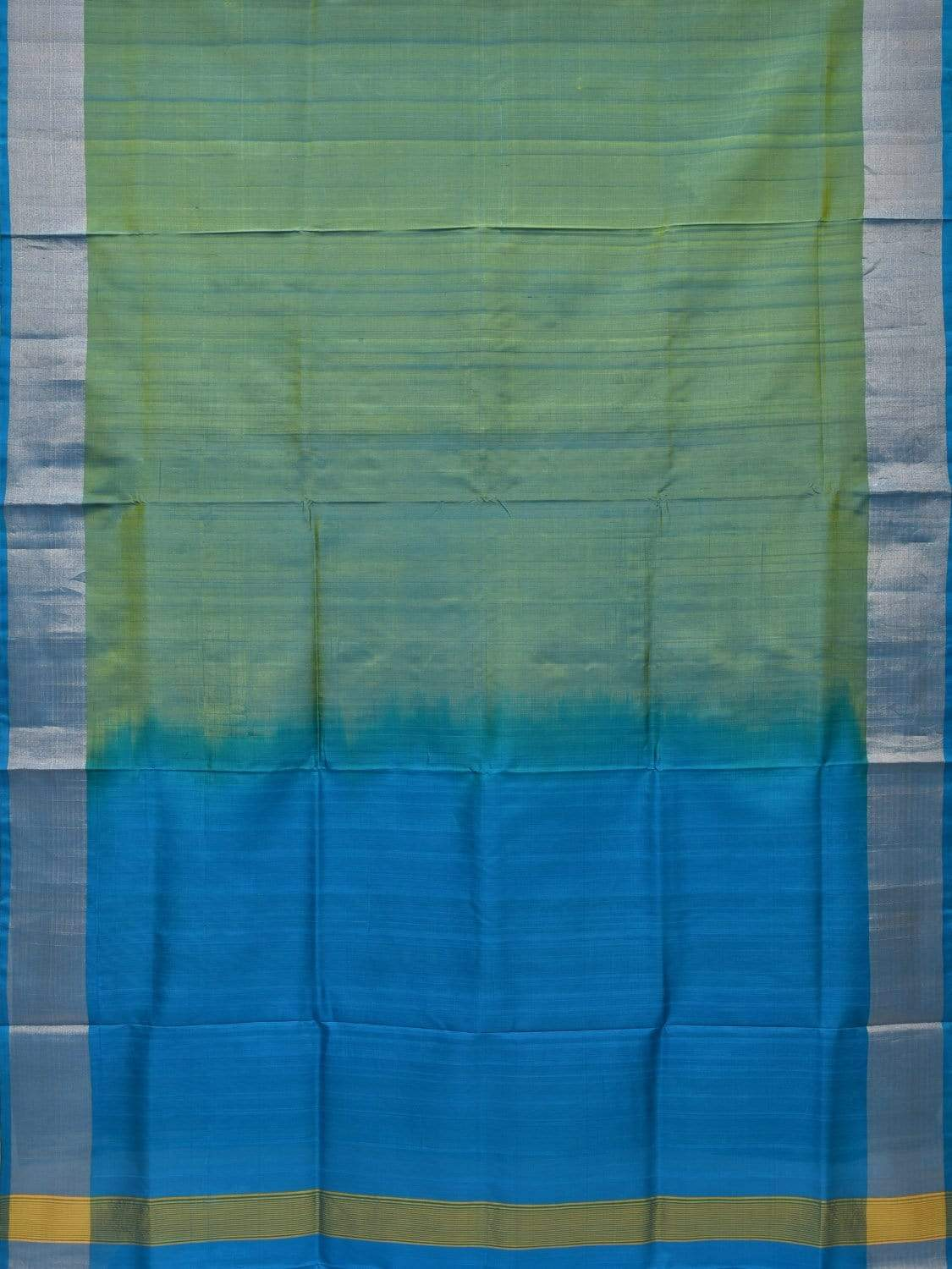 Sea Green and Blue Uppada Silk Handloom Plain Saree with Contrast Pallu u1599