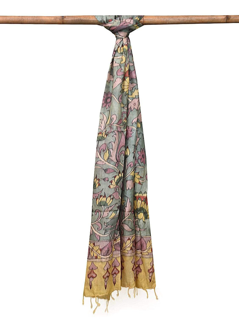 Sea Green Kalamkari Hand Painted Tussar Handloom Dupatta with Lotus Flowers and Birds Design ds2123