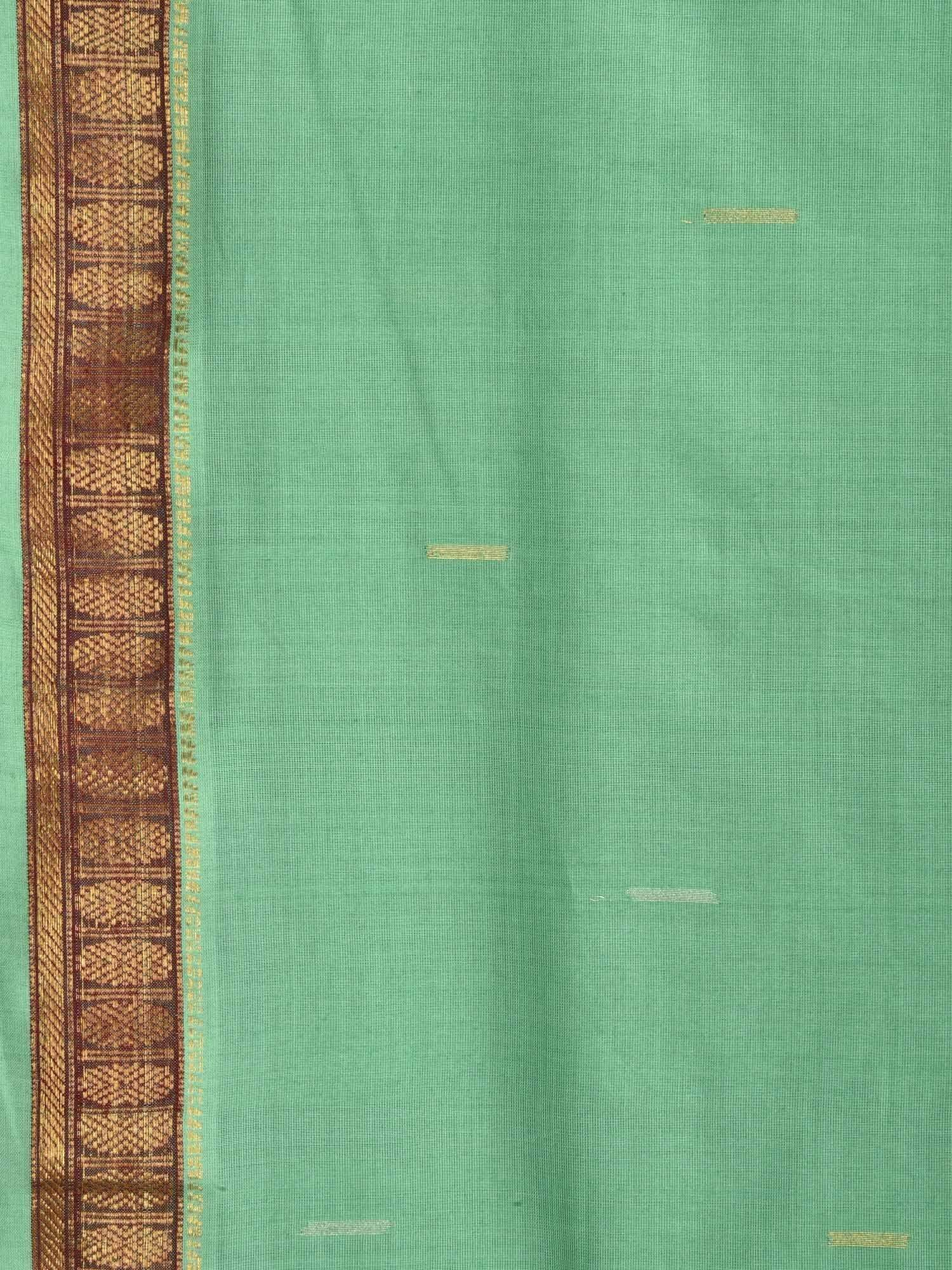 Sea Green Khadi Cotton Handloom Saree with Doby Border and Zari Strips Pallu Design kh0427
