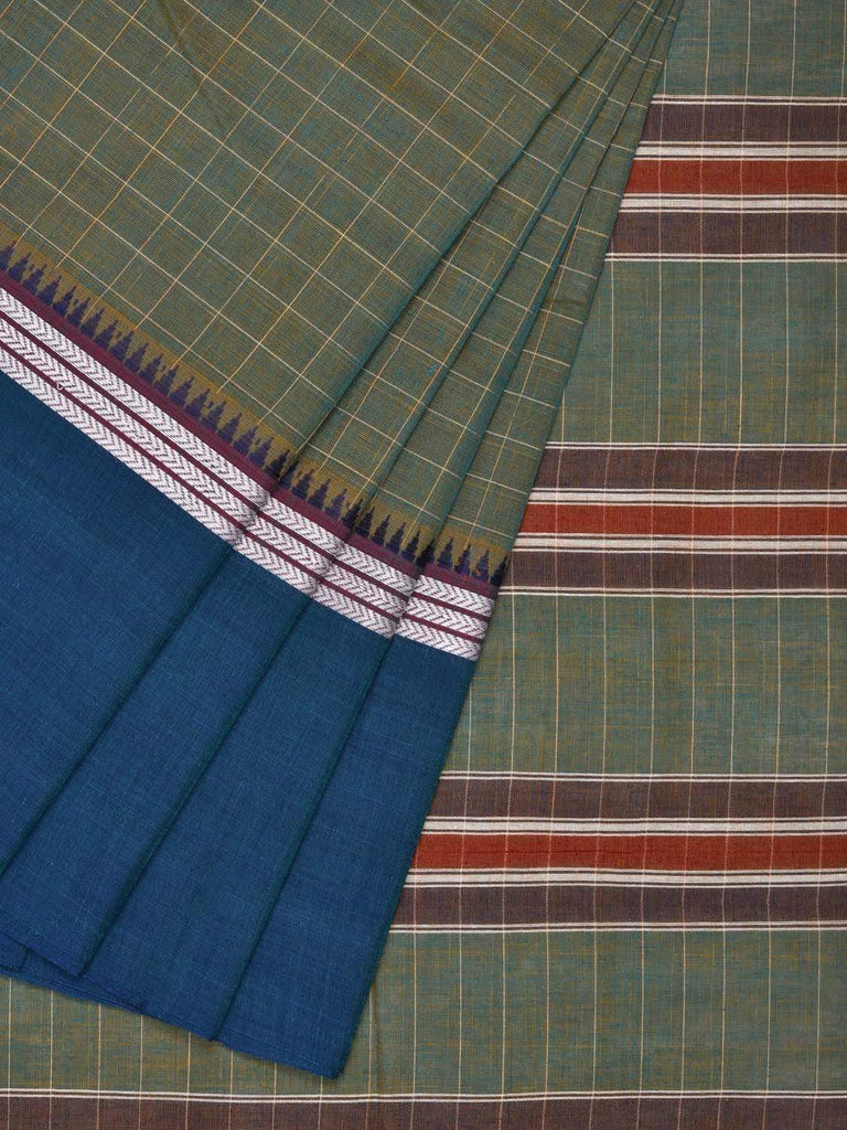 Sea Green Narayanpet Cotton Handloom Saree with Big Checks Design No Blouse np0233