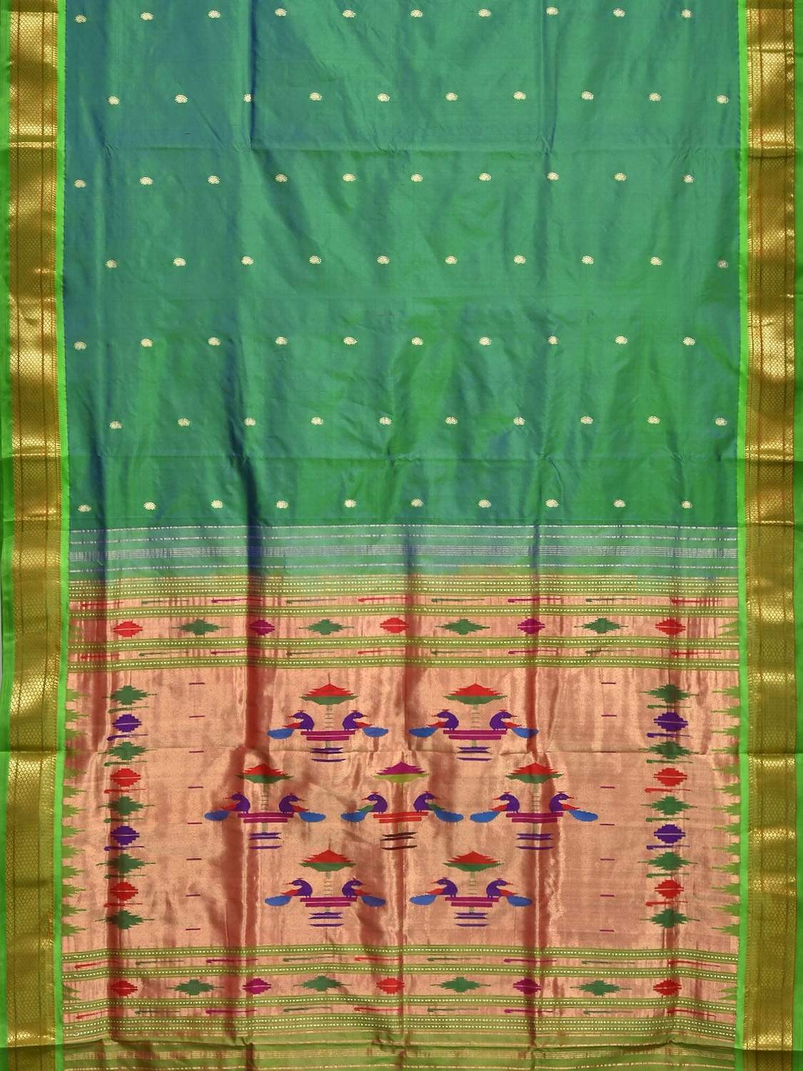 Sea Green Paithani Silk Handloom Saree with Double Pallu Design p0329