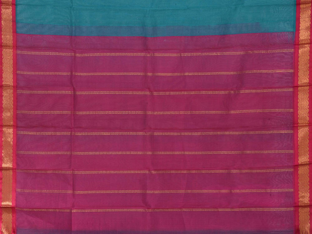 Teal and Pink Gadwal Cotton Handloom Plain Saree G0194