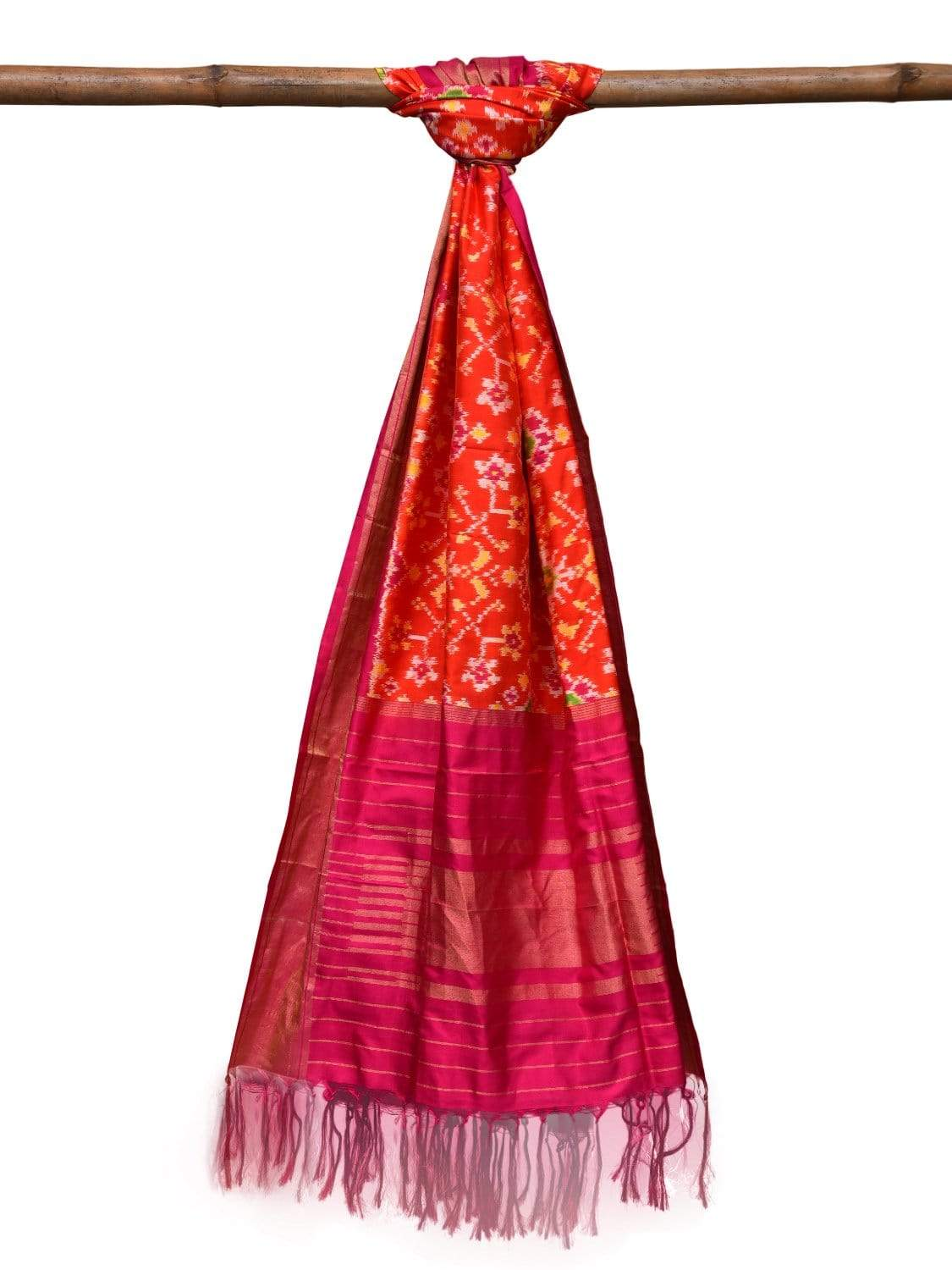 Teal and Pink Pochampally Ikat Silk Handloom Dupatta with All Over Design ds2037