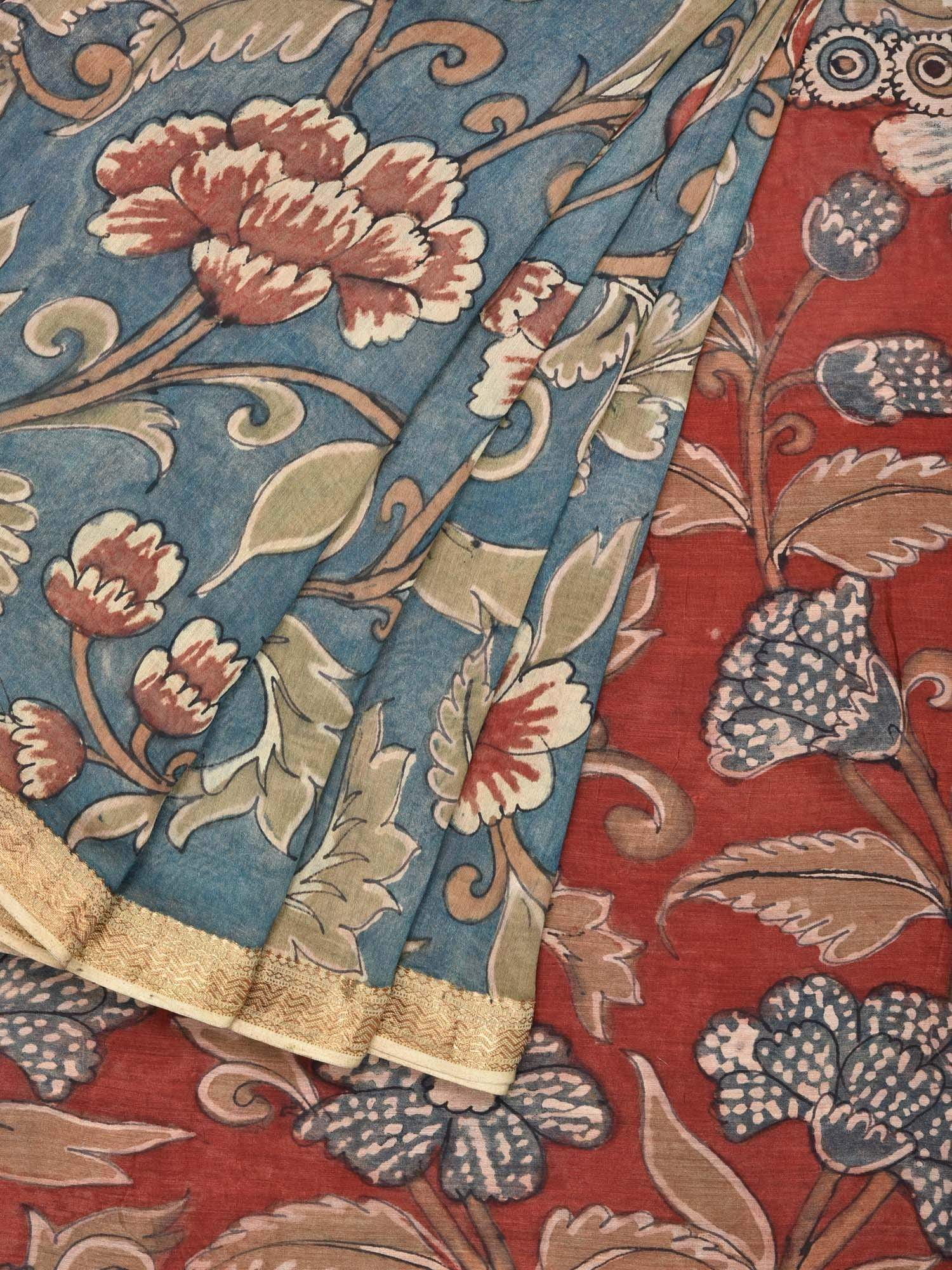Teal and Red Kalamkari Hand Painted Cotton Silk Handloom Saree with Flowers and Leaves Design KL0095
