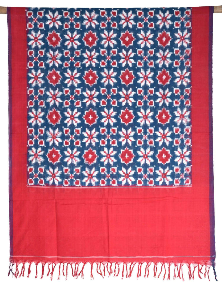 Teal and Red Pochampally Ikat Cotton Handloom Dupatta with Telia Design ds1633