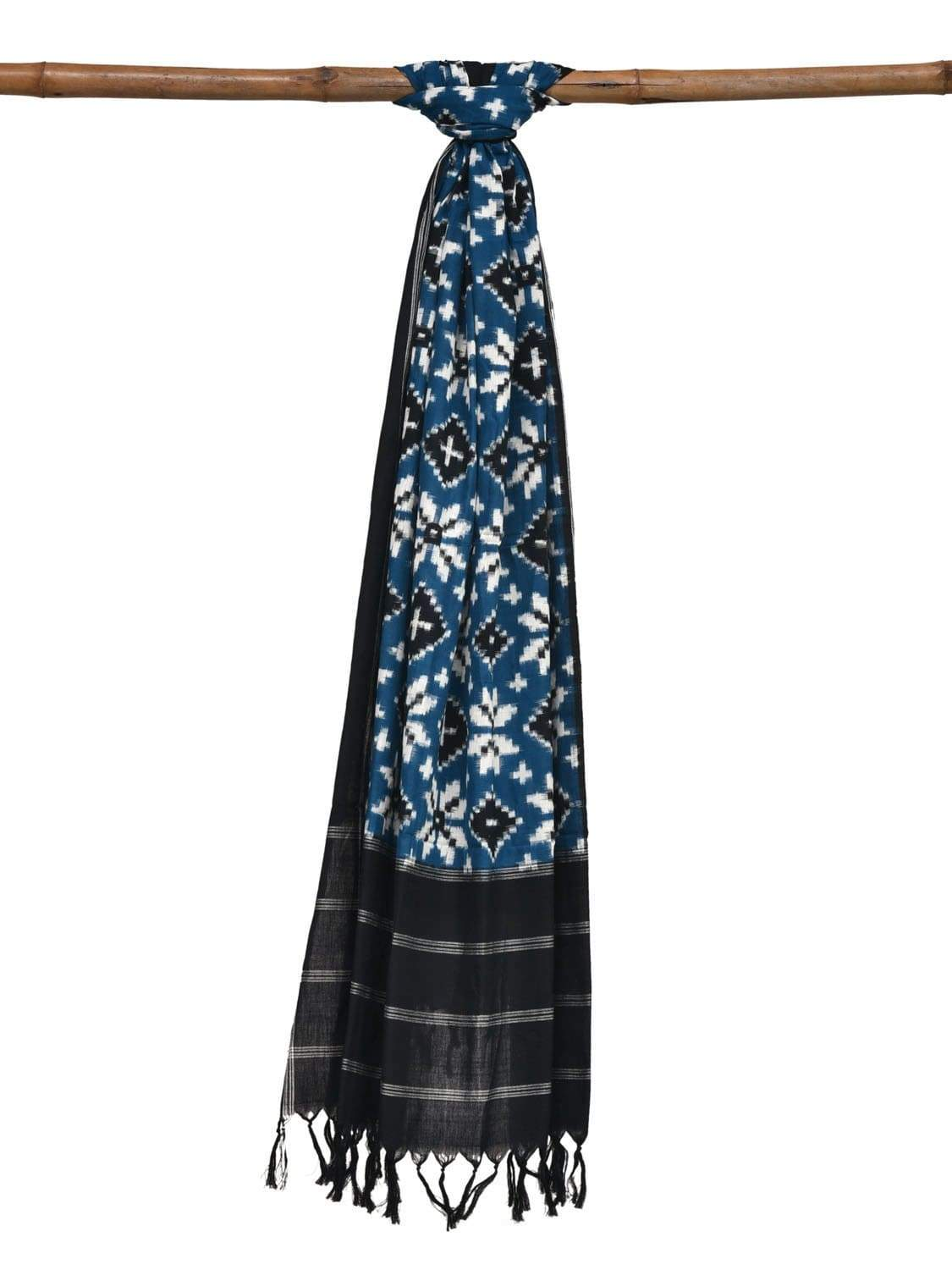 Teal and White Pochampally Ikat Cotton Handloom Dupatta with Telia Design ds1898