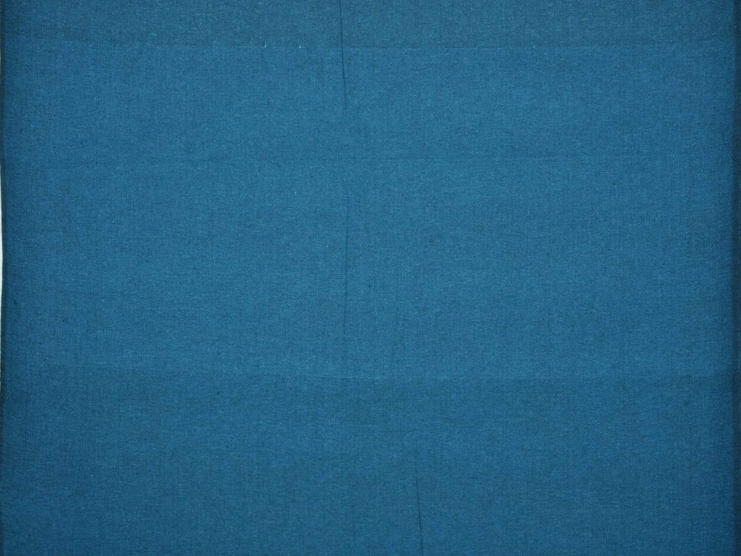 Teal Cotton Handloom Fabric Material with Plain Design f0153