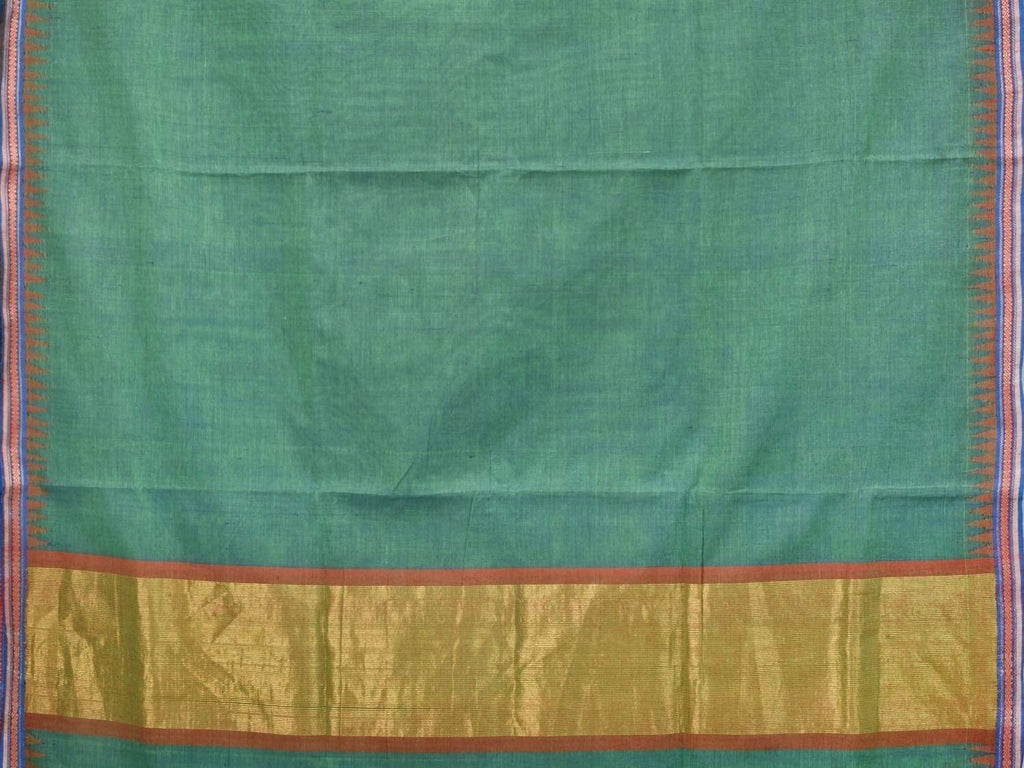 Teal Khadi Cotton Handloom Plain Saree with Doby Border Design Kh0437