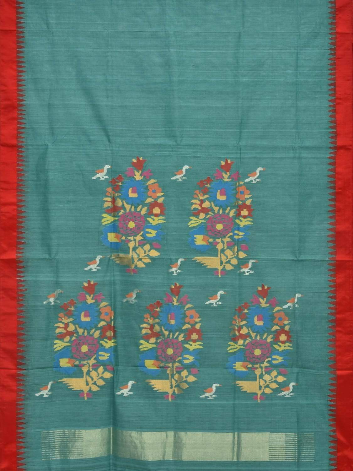 Teal Khadi Cotton Handloom Saree with Silk Border and Pallu Design Kh0461