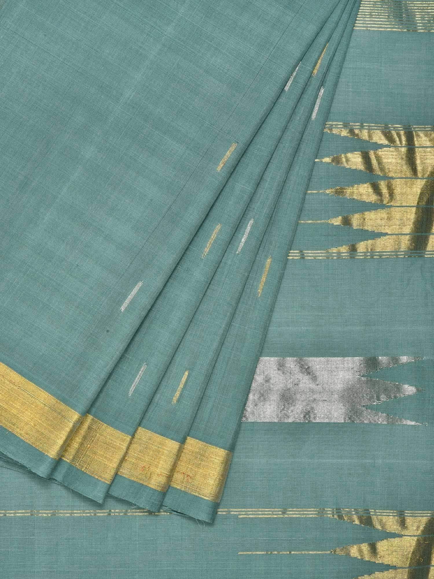 Teal Khadi Cotton Handloom Saree with Zari Strips Pallu Design No Blouse kh0429