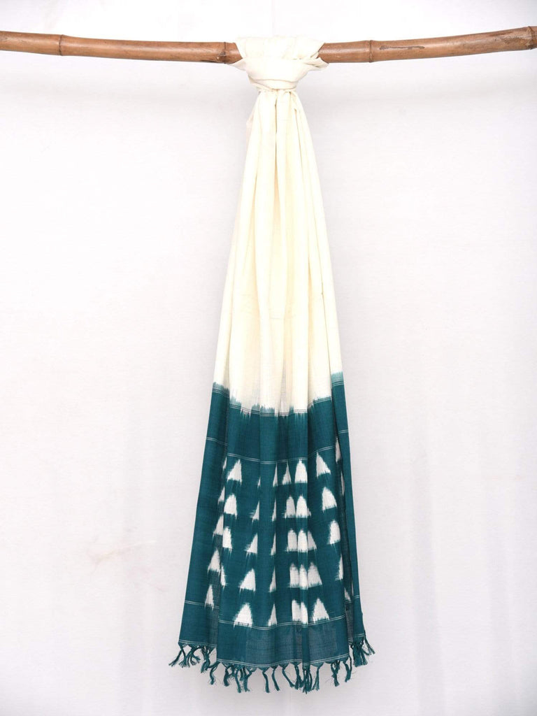 Teal Pochampally Ikat Cotton Handloom Dupatta with Triangles Design ds1410