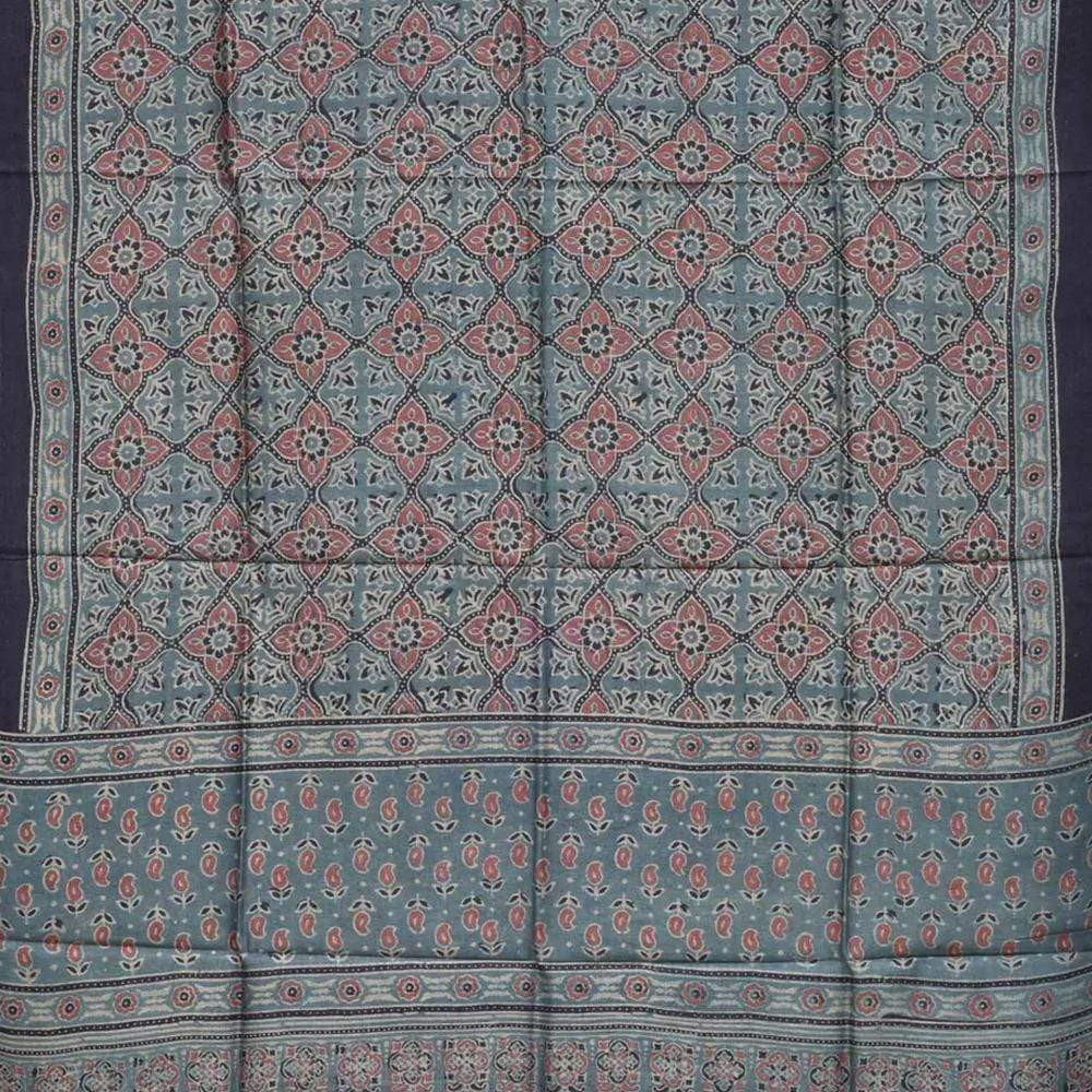 Teal Tussar Handloom Dupatta with Ajrak Print ds1757