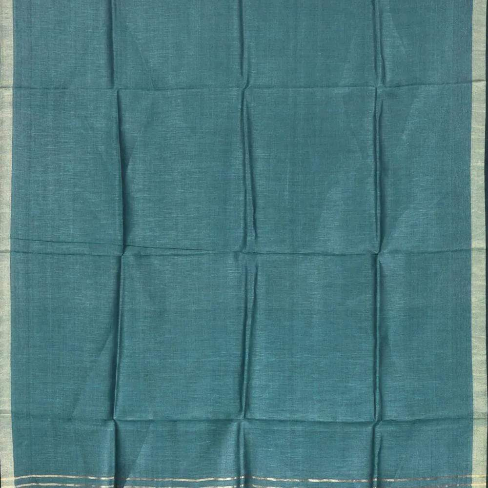 Teal Tussar Handloom Dupatta with Zari Border ds1754