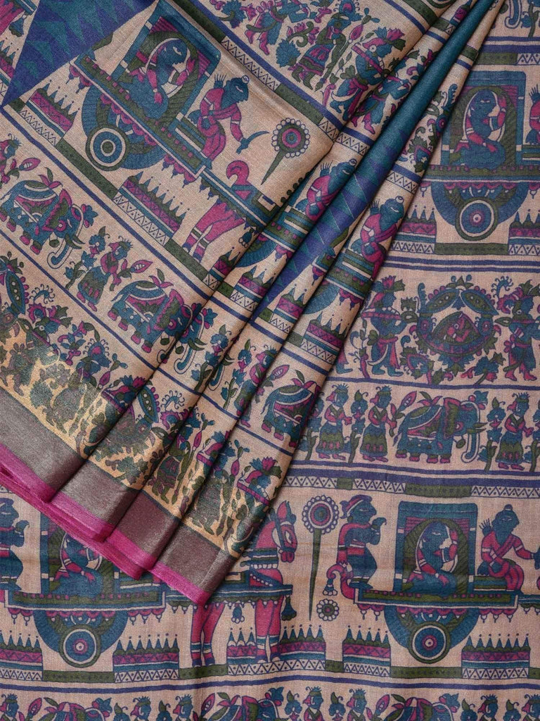 Teal Tussar Handloom Saree with All Over Madhubani Print Design o0220