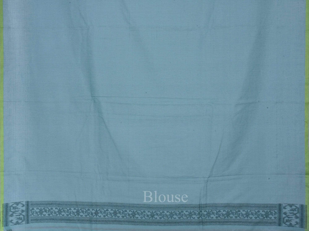 Turquoise Banaras Cotton Handloom Saree with All Over Grill Design b0271