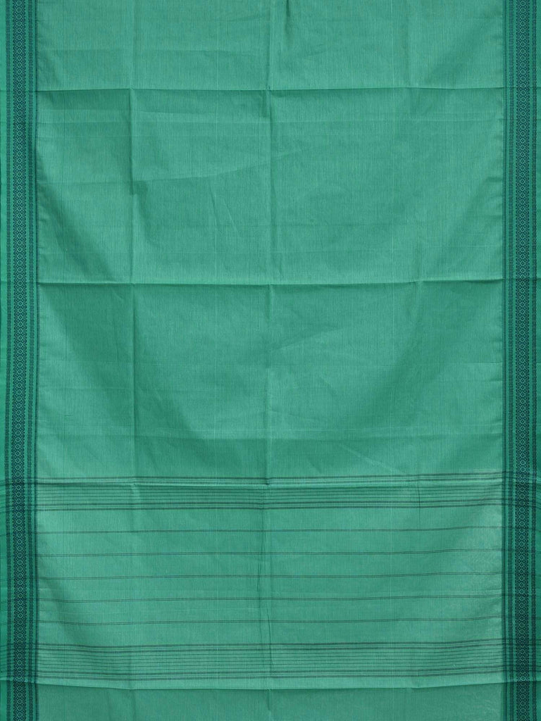 Turquoise Cotton Handloom Saree with Strips and Dobby Border Design o0236