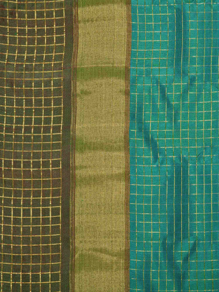 Turquoise Gadwal Silk Handloom Saree with Small Checks Design g0212