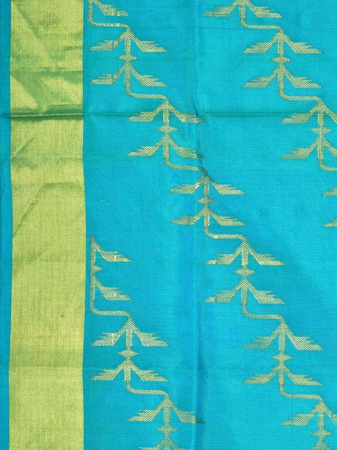 Turquoise Kanchipuram Silk Handloom Saree with All Over Diagonal Design k0470