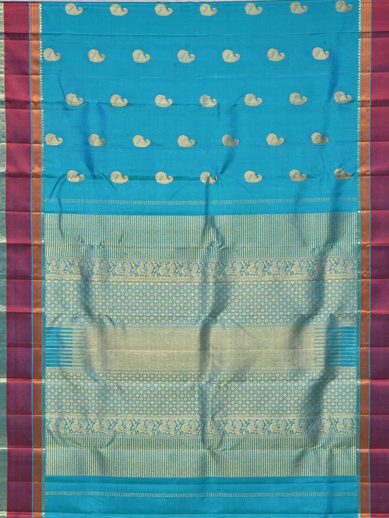 Turquoise Kanchipuram Silk Handloom Saree with Mango Buta Design K0425