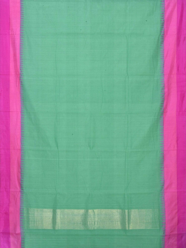 Turquoise Khadi Cotton Handloom Plain Saree with Double Border kh0334