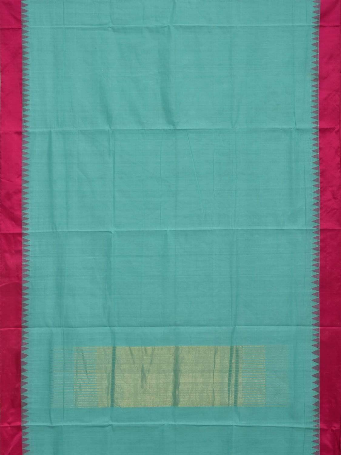 Turquoise Khadi Cotton Handloom Plain Saree with Silk Temple Border Design Kh0463