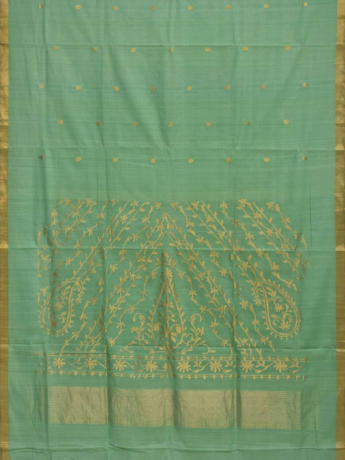Turquoise Khadi Cotton Handloom Saree with Rich Pallu Design kh0452
