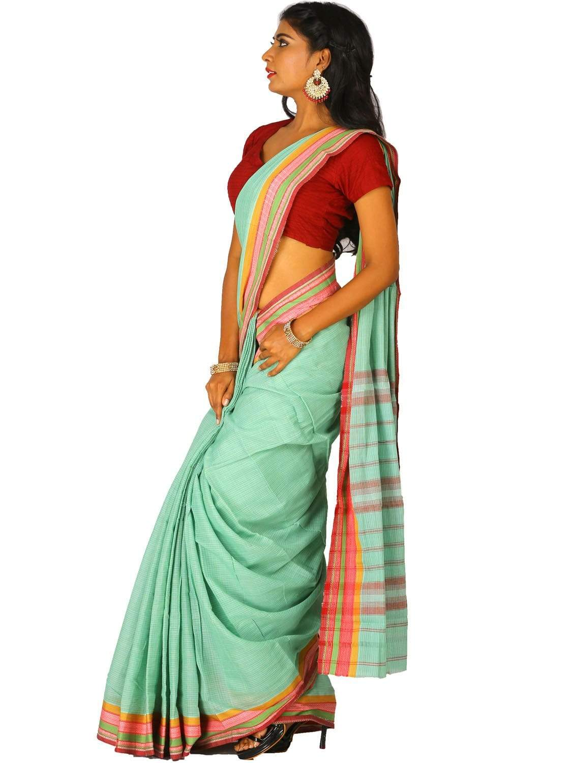 Turquoise Narayanpet Cotton Handloom Saree with Checks Design np0267