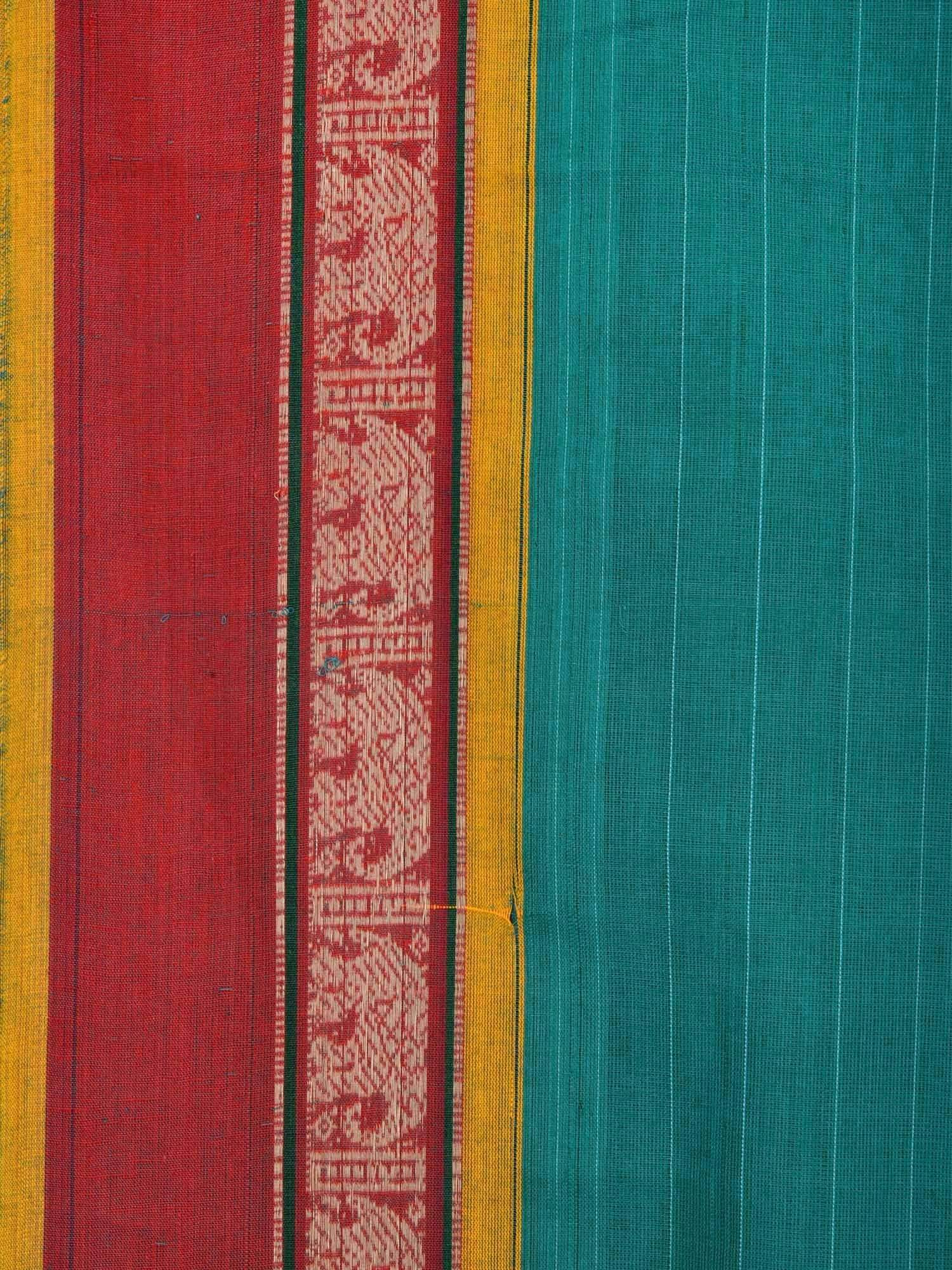 Turquoise Narayanpet Cotton Handloom Saree with Strips and Elephant Border Design No Blouse np0209