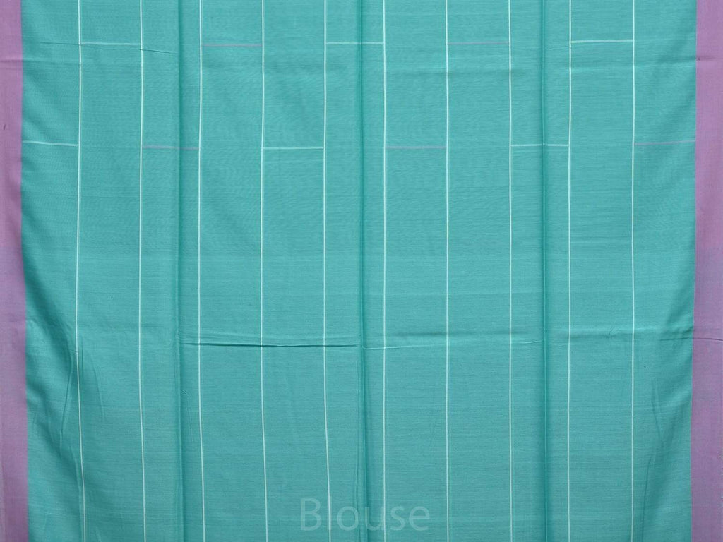 Turquoise Organic Cotton Handloom Saree with Strips Design o0261