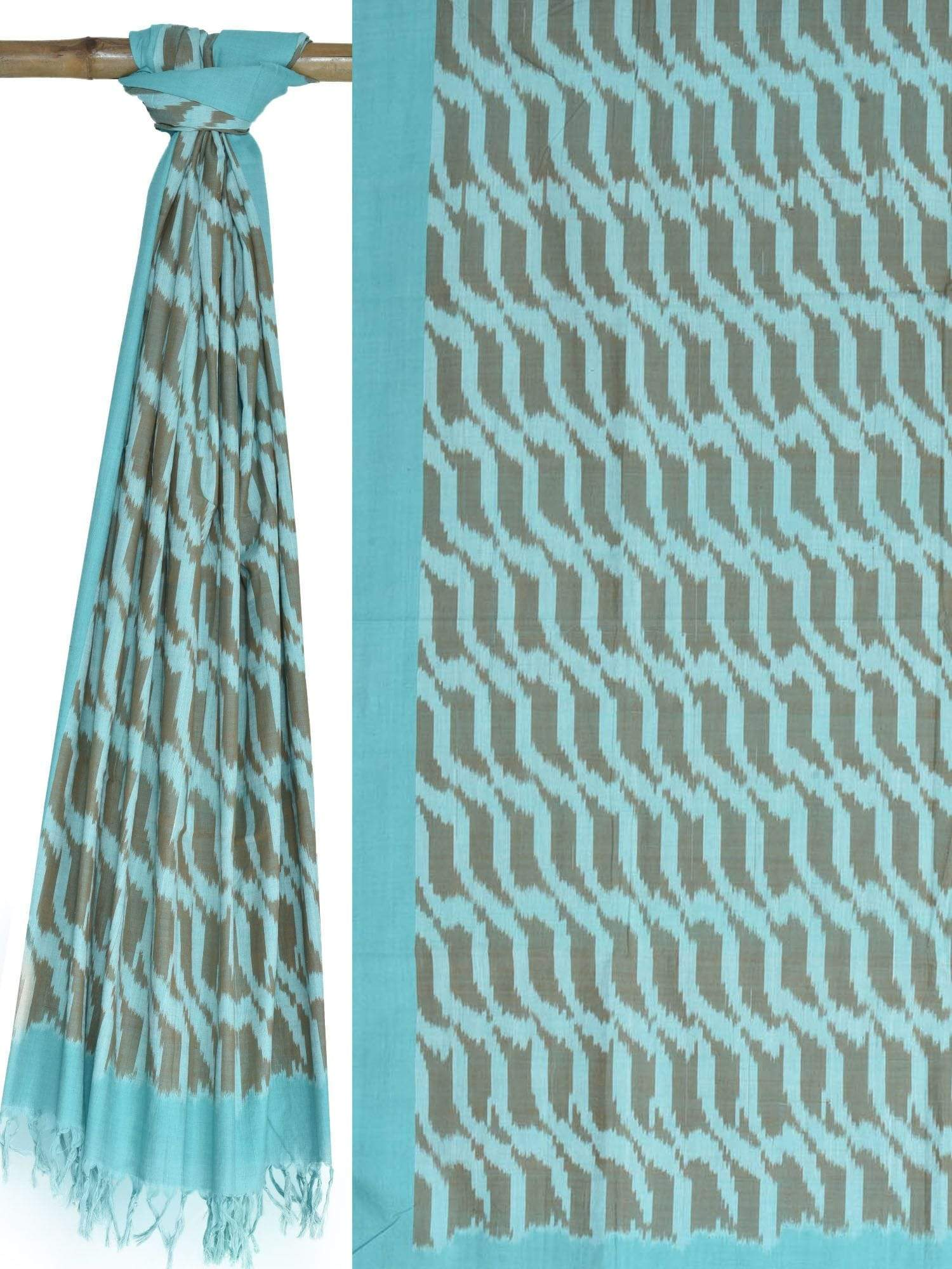 Turquoise Pochampally Ikat Cotton Handloom Dupatta with Diagonal Design ds1619