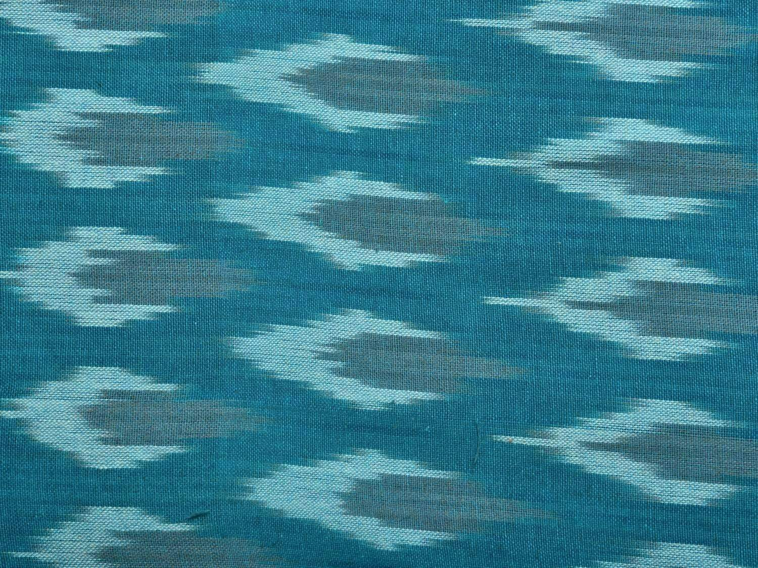 Turquoise Pochampally Ikat Cotton Handloom Fabric Material with Buta Design f0141