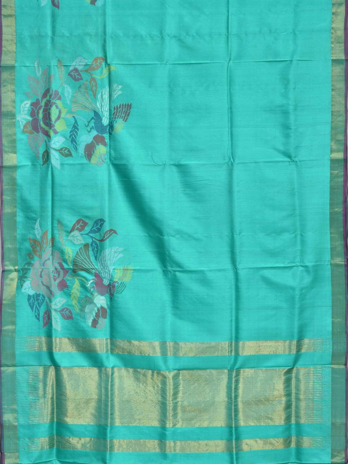 Turquoise Uppada Silk Handloom Saree with One Side Flower and Bird Border Design u1552