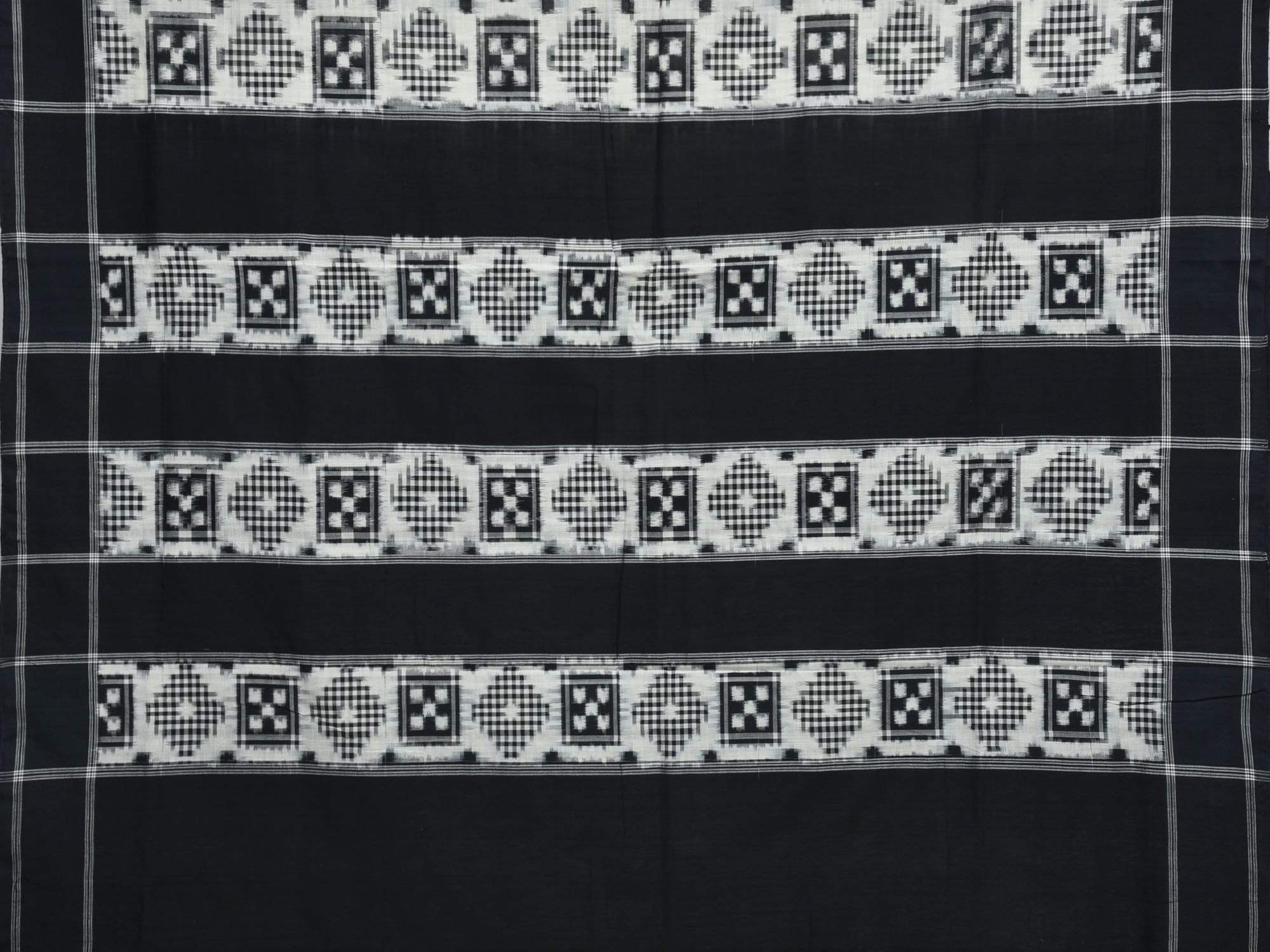 White and Black Pochampally Ikat Cotton Handloom Saree with Telia Design i0506