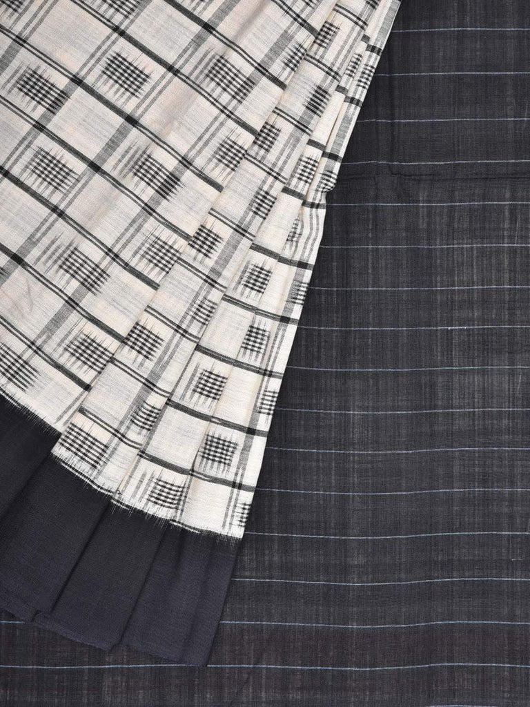 White and Black Pochampally Single Ikat Cotton Handloom Saree with Checks Design i0570