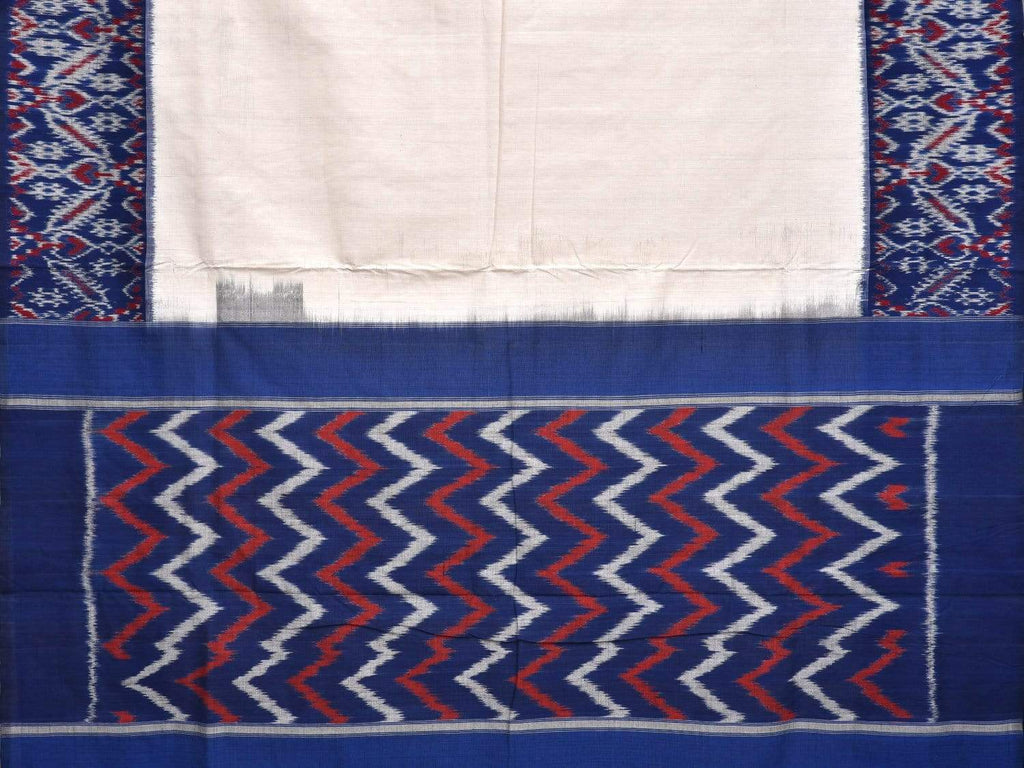 White and Blue Pochampally Ikat Cotton Handloom Plain Saree with Border Design i0561