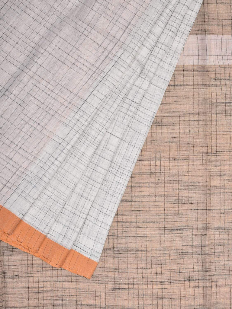 White and Cream Cotton Handloom Saree with Checks Design o0285