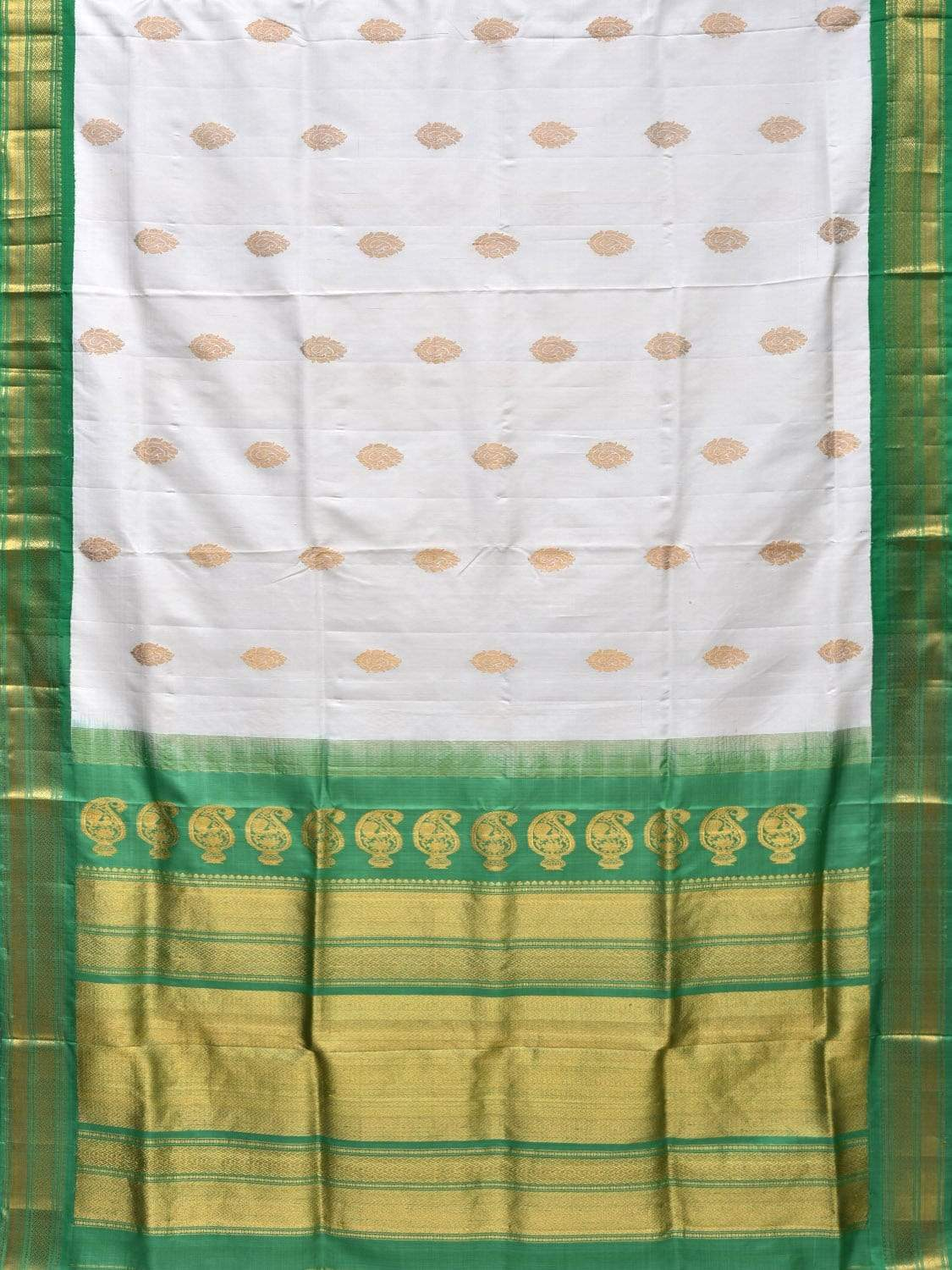 White and Green Gadwal Silk Handloom Saree with Body Buta and Mango Pallu Design g0254
