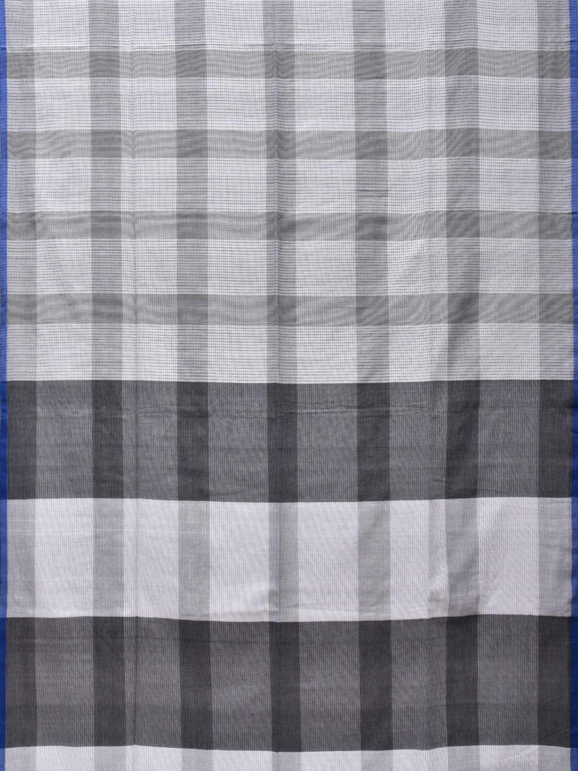 White and Grey Soft Cotton Handloom Saree with Checks Design o0283