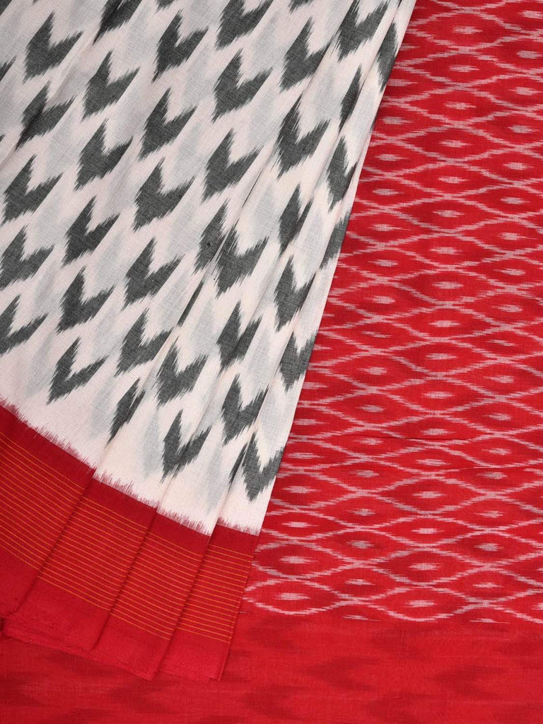 White and Red Pochampally Single Ikat Cotton Handloom Saree with Arrow Head Buta Design i0573