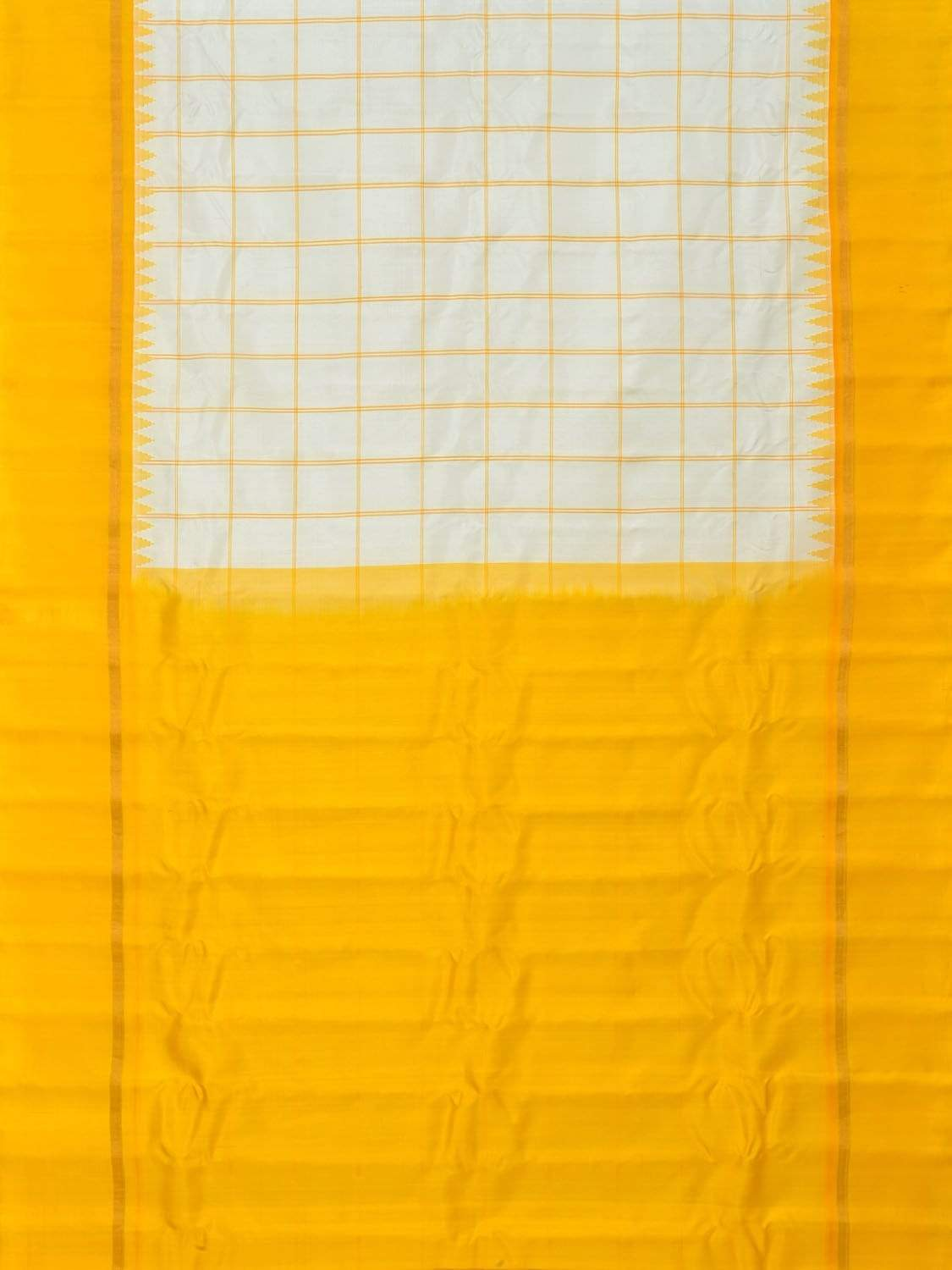 White and Yellow Gadwal Silk Handloom Saree with Checks Design g0240