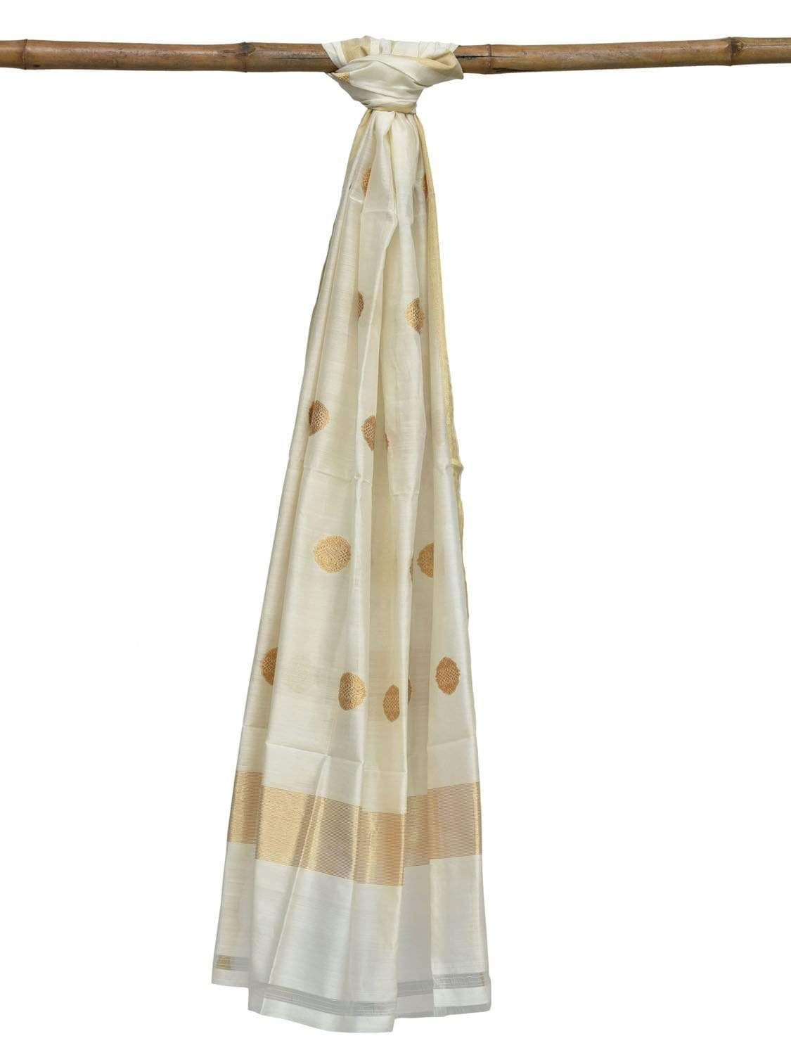 White Banaras Cotton Silk Handloom Dupatta with Buta Design ds1871