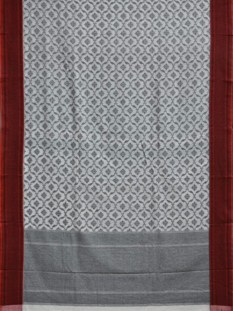 White Cotton Cut Work Handloom Saree with All Over Grill Design o0221