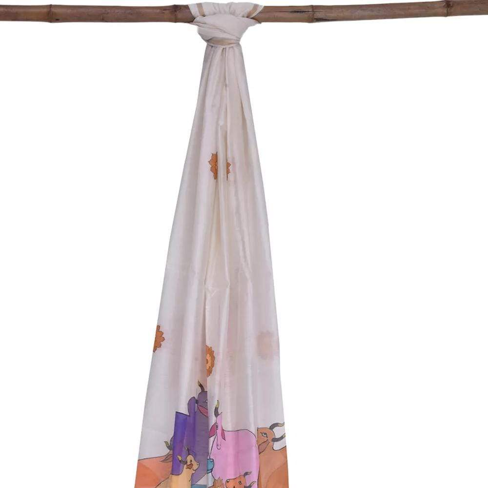 White Cotton Handloom Dupatta with Cows Design ds1564