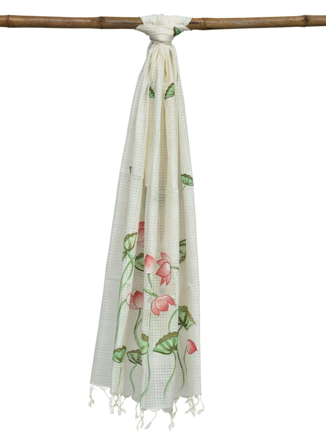 White Cotton Handloom Dupatta with Hand Painted Lotus Design ds1873