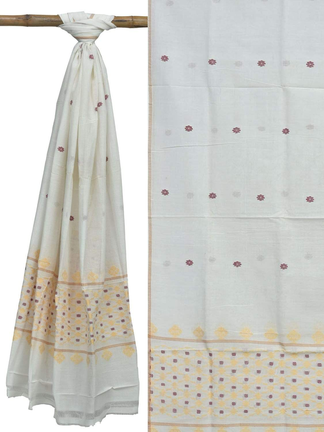 White Cotton Handloom Dupatta with Jamdani Design ds1875
