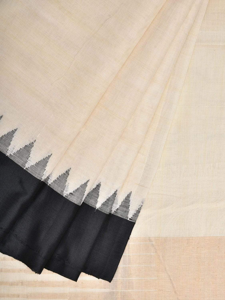 White Cotton Handloom Plain Saree with Temple Border Design kh0499