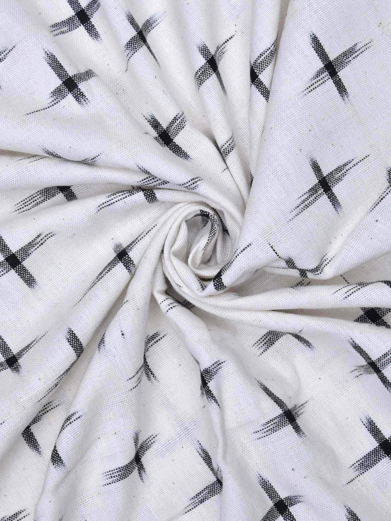 White Double Ikat Cotton Handloom Fabric With Plus Buta Design F0045