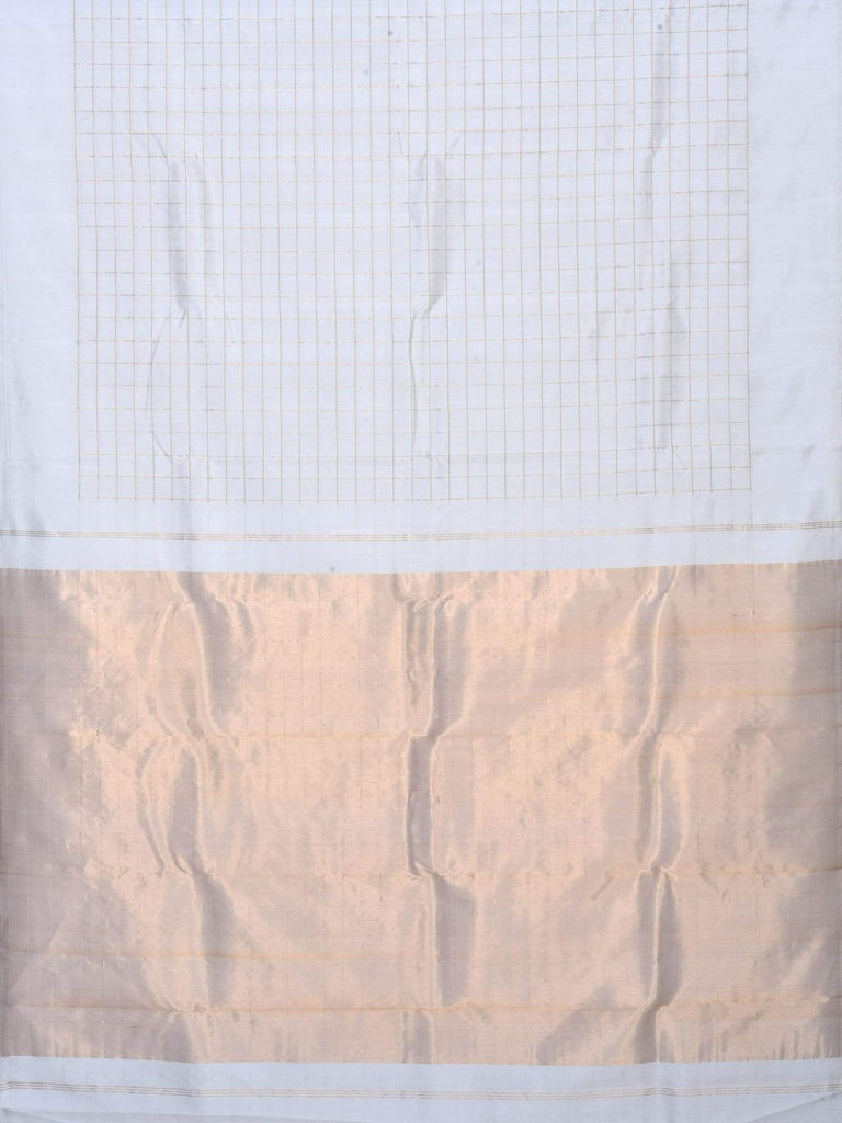 White Kanchipuram Silk Handloom Saree with Checks Design K0351