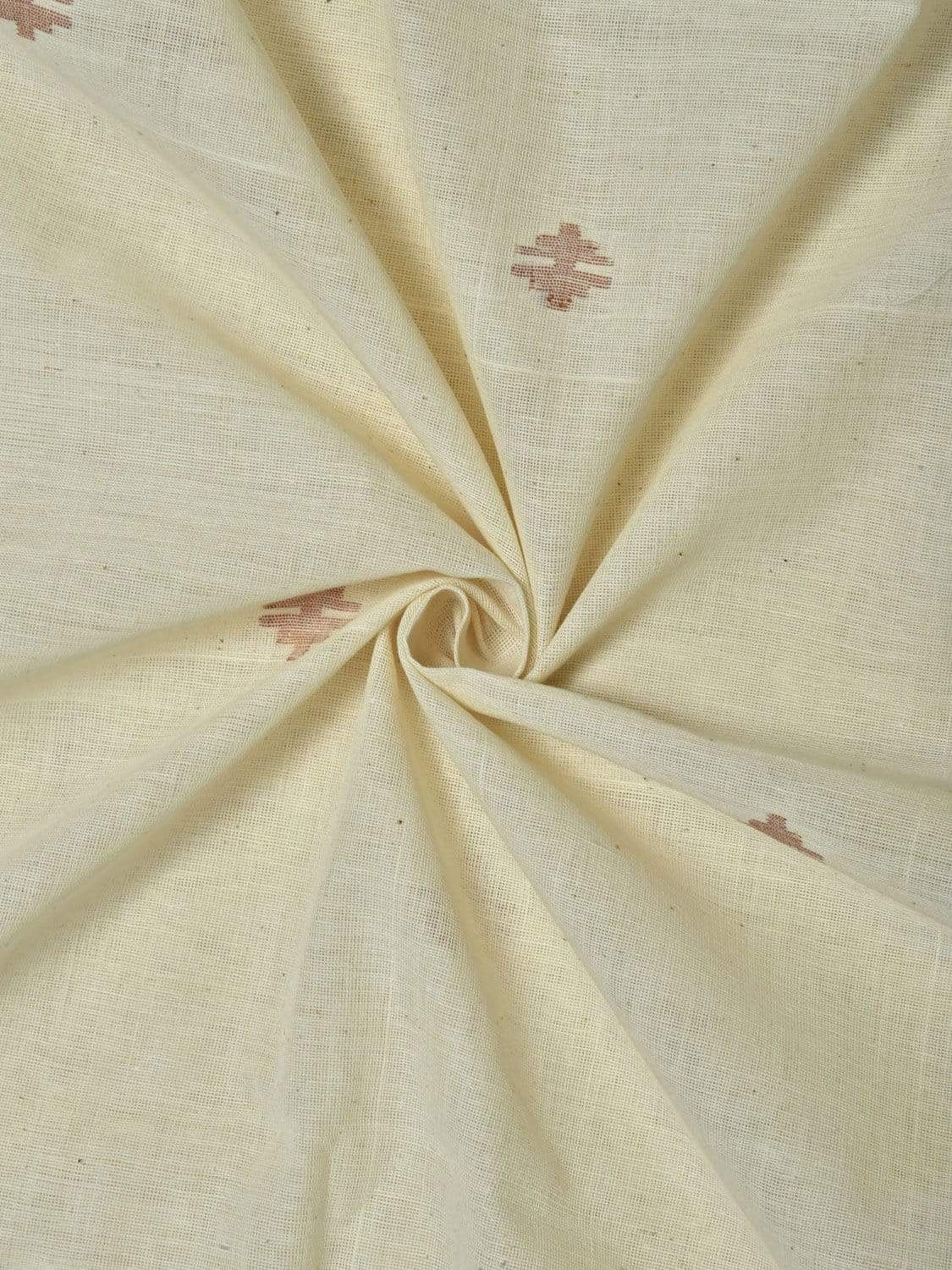White Khadi Cotton Handloom Fabric Material with Jamdani Buta Design f0130