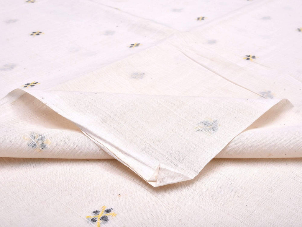 White Khadi Cotton Handloom Fabric With Jamdani Buta Without Border F0034